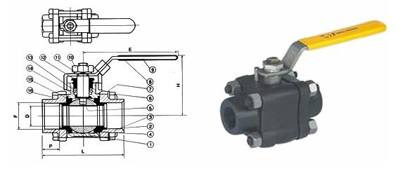 三锻式承插焊接球阀 -三锻式承插焊接球阀结构图