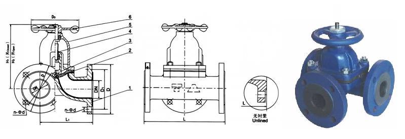 三通隔膜阀 -三通隔膜阀结构图