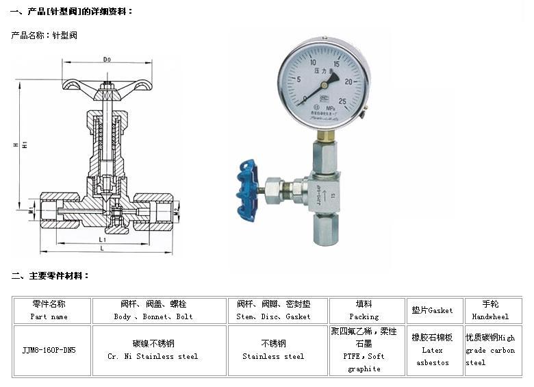 jjm8 不锈钢压力表针型阀图片