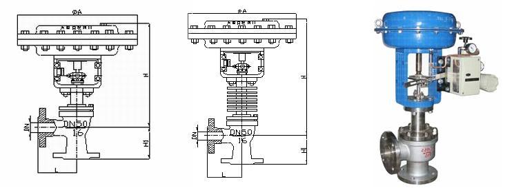 zjhj精小型气动薄膜调节角阀图片
