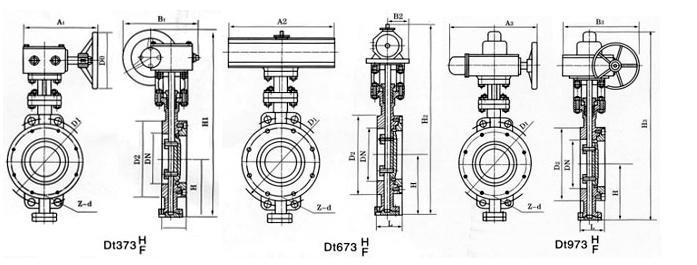 d71h 对夹式弹性硬密封蝶阀  公称通径 结构长度(标准值) 外形尺寸图片